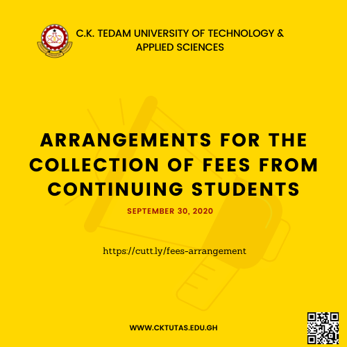 Arrangements for the collection of Fees from Continuing students